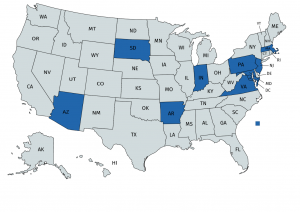 BES has a presence in all states shaded in blue